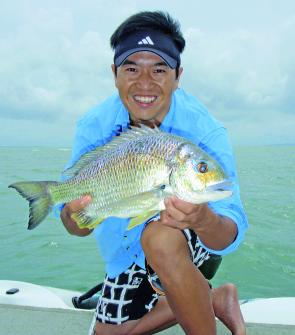Grayson Fong nailed this cracking 42cm fork length bream on a shallow Jackall Chubbie in less than 1ft of water.
