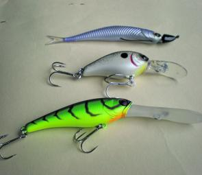 Three new lures that are working very well on bass. From top; The Jackall Clone smelt on a Slider weedless jig; the Jackall ASKA 45, which is great for shallow banks; and the Jackall Soul Shad suspending deep diver.