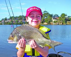 Lachlan Dubois' bream went 39cm to the fork and was caught on a Jackall Chubby.