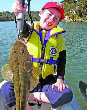 Lachlan caught this 65cm flathead on a River2Sea Baby Vibe.