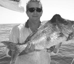 Gary with one of the snapper he caught on a memorable day in late December.