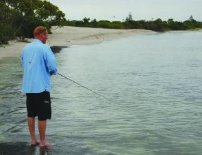 Plenty of shore-based spots exist around the shallow fringes of the Tuggerah lakes. John Grant tries his luck on the southern side of Swansea Channel.