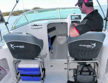 This boat has well made and supportive bucket seats sitting on solid framework, and strong bimini supports come as standard. It's easy to access the cabin thanks to a generous sized door.