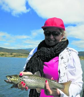 Lucy Sacco from Sydney with a brown caught on a Willy's Special Tasmanian Devil.