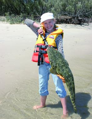 Flathead fishing is child's play when they are around in numbers. Stephanie Ballantine displays a beauty.