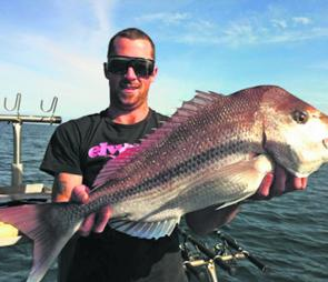 Now's the time for big snapper deep off Rye and Mt Martha. Johnno with a lovely red.