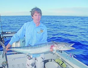 Michael Green with a small wahoo on a skirted lure. The wahoo have been very hard to find this year but they are still about.