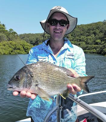 "Bream respond well to a wide variety of baits and lures. This fish took a liking to a 2.5"" motor oil coloured ZMan Slim SwimZ cast over the flats on a high tide."