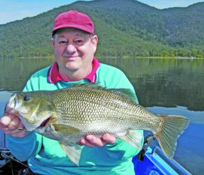 Tony Cardillo caught this massive bass over 7lb out from The Spit at Somerset Dam using a trolled 1/2oz blade bait.