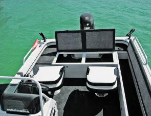 The Blue Fin's aft storage compartment doubles as a handy casting platform.