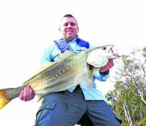 Matt Jorgensen caught this 9kg jewfish in the Bega River while targeting bream.