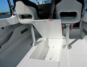The day's requirements will dictate the use the large forward under floor compartment is put to.