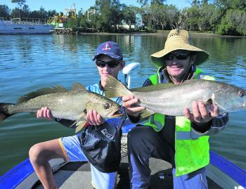 Scott and Aiden with a couple of nice school mulloway from upriver.