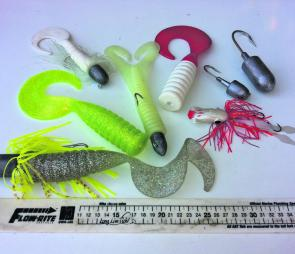 A selection of the Boneyard Baits range and a Williamson Yabbai octa-jig. These plastics are dynamite on kingfish and can be fished easier than conventional jigs.