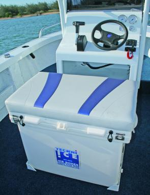 The Preda King's centre console is sparse but functional. The 150L icebox with padded lid doubles as the driver's seat and makes great use of available space. There is plenty of room on top of the console to fit the sort of electronics most boaties would