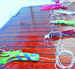 Always rig high speed trolling lures with lenghts of heavy mono leader to allow for maximum mobility in the water.