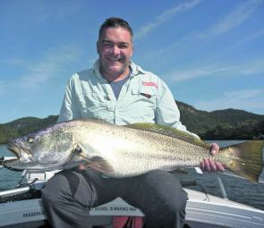 Nick Wilson landed this 12.5kg mulloway on Good Friday using live bait.