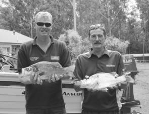 These bass of 46cm and 47cm were caught below the weir on the Williams River on lipless crankbaits by John Lane, left, and Gary Niven, both of Maitland.
