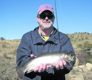 Texan visitor Steve Skinner caught this brook trout on a Rapala minnow in perch pattern.