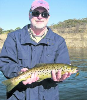 Steve Skinner bagged this brown trout on a gold TT Switchblade.