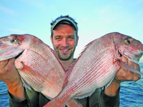 The size of the snapper over the last month dropped off with many of the fish being caught between 1-2.5kg. Dan Lee shows off a couple of pinkies.