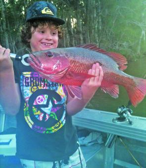 Luca Reeves 52cm jack caught and released in the Noosa River.