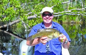 This fine bass came from the upper Noosa River. Douglas Wells caught it on an Ecogear SX48F.