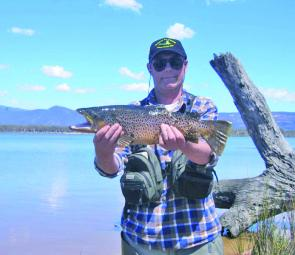 Bruce James with a terrific brown trout from Lake Fyans, taken during an annual flyfishing competition.