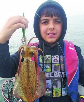 Youngster, Mason Caruana, and his father Ray, had no trouble putting together a bag of squid while drifting the inner reefs and weed beds at Altona.