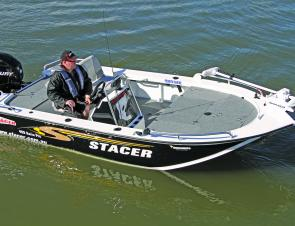 There's plenty of room for two or three to stand and cast in comfort aboard Stacer's 459 Barra Pro.