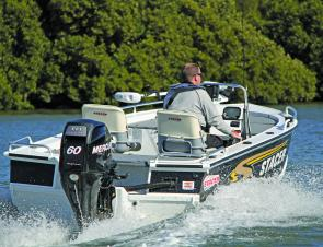 The Mercury BigFoot 60hp EFI four-stroke gets the Stacer 459 Barra Pro up and running smartly and runs on the smell of an oily rag.