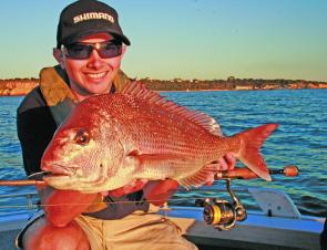 Jordan Trusty with a classic example of Port Phillip snapper.