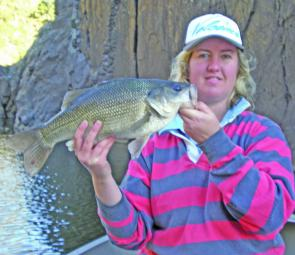 Catherine McLean took this it was 49.5cm wild river bass on a Cyber Vibe.