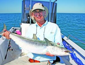 Toothy critters love Prongs but usually sever leaders. Graig looks pleased with this healthy grey mackerel that managed to miss munching his nylon.