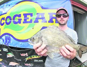 Adam Arbuthnot with the 1.55kg Ecogear Big Bream that helped move his team right up the leader board.