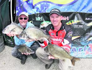 Brad Hodges and Mick Hodges from Team Berkley display the fish that gave them the 3.71kg Maria Lures Best Bag.