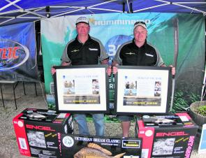 The 2013 Club Marine Team of the Year Team Minn Kota's Cameron Whittam and Warren Carter display their trophy.