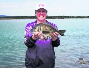 Nikki Bryant displays the 1.31kg bream that almost handed her the Big Bream trophy on the weekend.