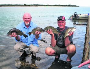 Team Bream It On Darren Murphy and Alan Lister display their Maria Lures Best Bag bream.