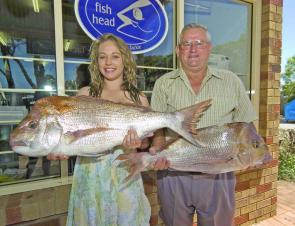 Ariel Smith and John Scull with a pair of outstanding bay snapper.