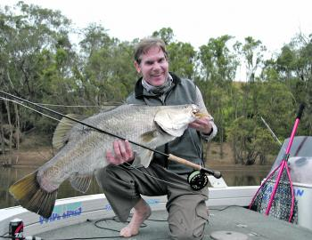 Not the world's largest barra, but the author was pretty happy with this fish from the Kolan River.