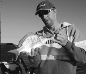 NSFWM South West Rocks writer Phil Bennett with a Clarence River bream. Phil was impressed at the size and fishiness of the Clarence and it looks like he'll be a regular visitor.