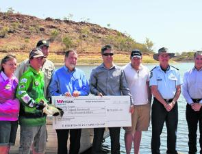 Last year's Lucky Angler cash prize presentation.