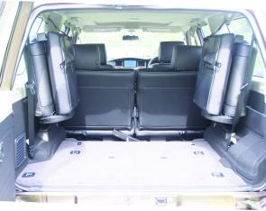 The Patrol's 2 rear seats don't take up much room in the rear compartment.
