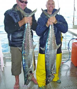 These monster Spanish mackerel weighed in at 35 kilos or so a piece. Keen Sunshine Coast anglers Mark Tippet and Craig Hinds caught them out at the Swains Reef system.