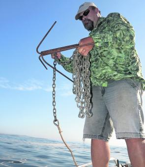 Avoid rattling anchor chains over gunwales when anchoring up.