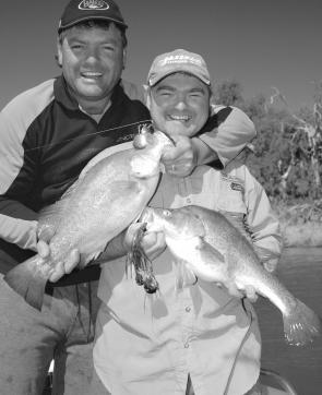 Dave Hodge and Glenn Casey of Bassman Spinnerbaits have some fun on golden perch.