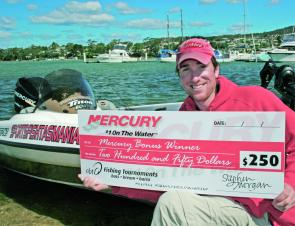 Champion boater, Patrick Sullivan, added the Mercury bonus to his first place winners cheque.