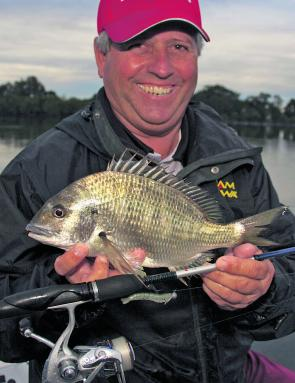 Wayne Bale with a bream caught late in the day, a great time to fish.