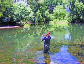 The Tumut River is the perfect place to get your last trout fix for the season. The author's partner, Sharon, is hooked up to a solid Tumut River rainbow.